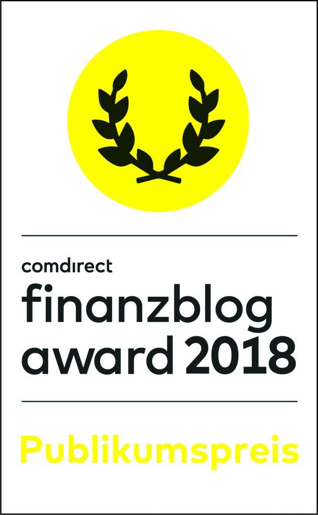Zweite Nominierung - Banner comdirect finanzblog award 2018
