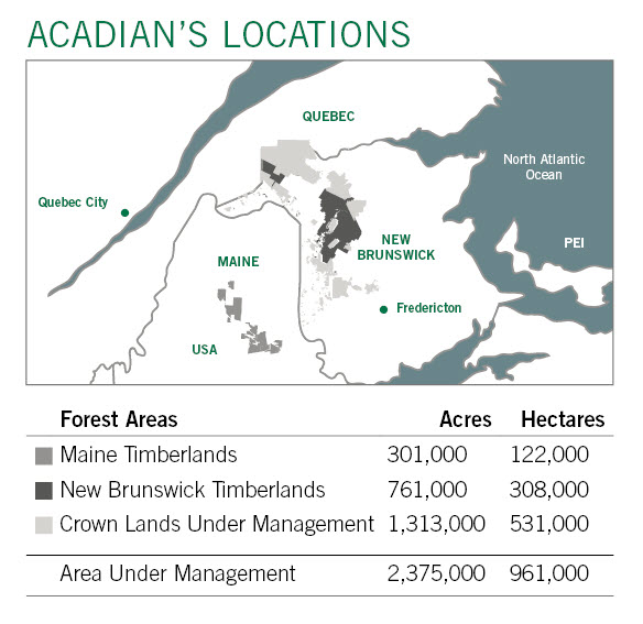 Karte von Acadian Timber